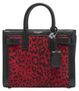 Saint Laurent Yves Leather Calf Hair Satchel in Animal Print