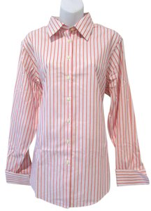 Brooks Brothers Striped Coral Classic Longsleeve Top Coral/Blue