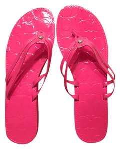 Coach Leather Casual Patent Pink Sandals