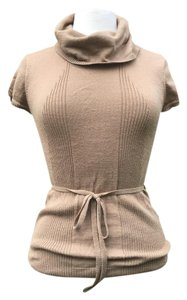 BCBGMAXAZRIA Cap Sleeve Cowl Neck Tie Belt Knit Sweater