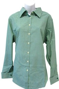 Brooks Brothers Gingham Classic Longsleeve Top Green/White