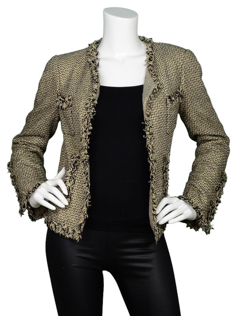 Item - Gold and Black & Tweed Open Fr38 Jacket Size 4 (S)