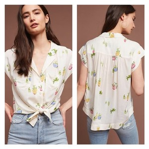 Anthropologie Top Cream/Green