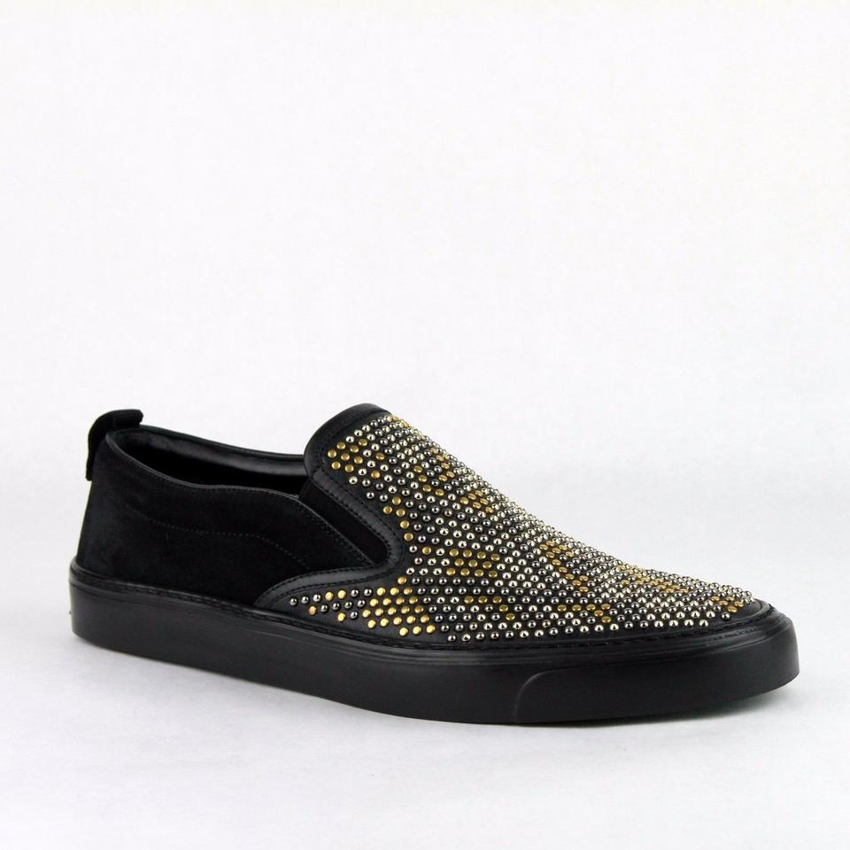 202f27ebda8 Gucci Black Leather Suede Studded Slip-on Sneakers 10 G   Us 11 386777 Shoes  ...