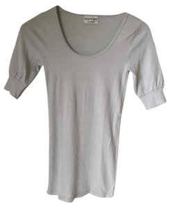 Michael Stars Dressed Up Classic Style American T Shirt Light Silver Grey Blue