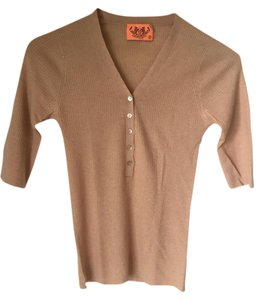 Juicy Couture Cashmere Button Down Rib Knit V-neck T Shirt Light Brown