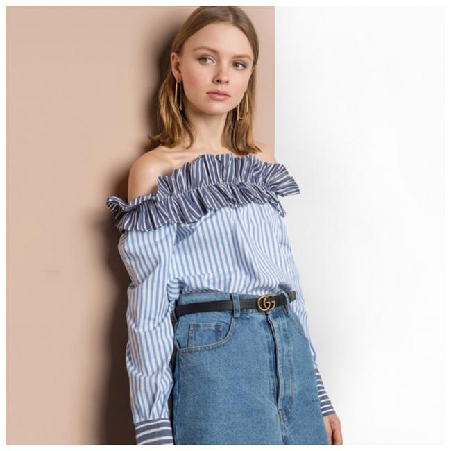 Other Ruffle Off The Shoulder Top Blue Image 1