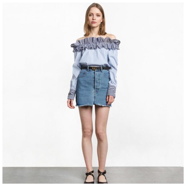 Other Ruffle Off The Shoulder Top Blue Image 2