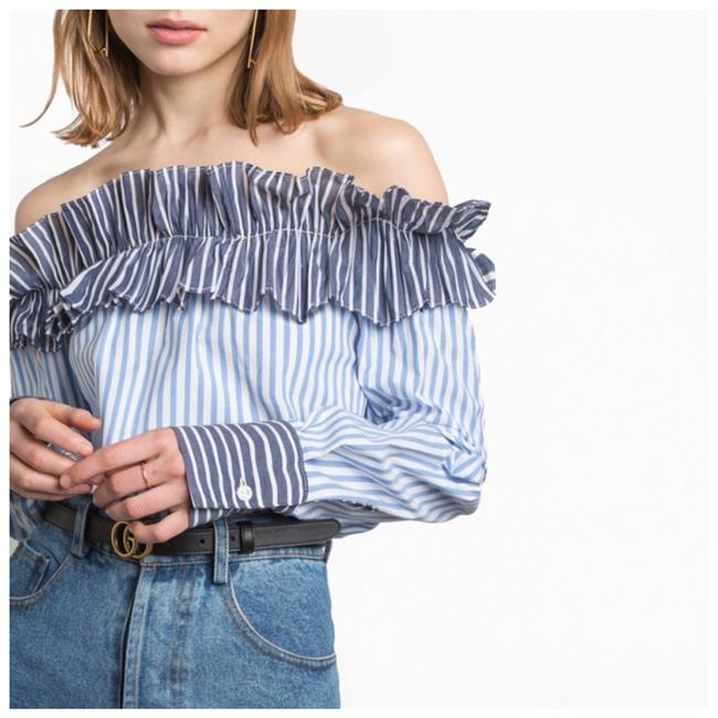 Other Ruffle Off The Shoulder Top Blue Image 3