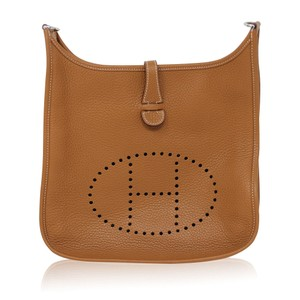 Hermès Clemence Gold Leather Evelyne Iii Pm Shoulder Bag