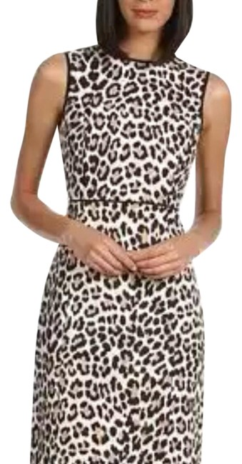 Item - Brown Autumn Leopard Domino Short Work/Office Dress Size 4 (S)