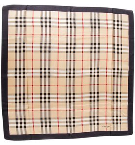 Burberry Beige & Black Nova Check Print Silk Scarf