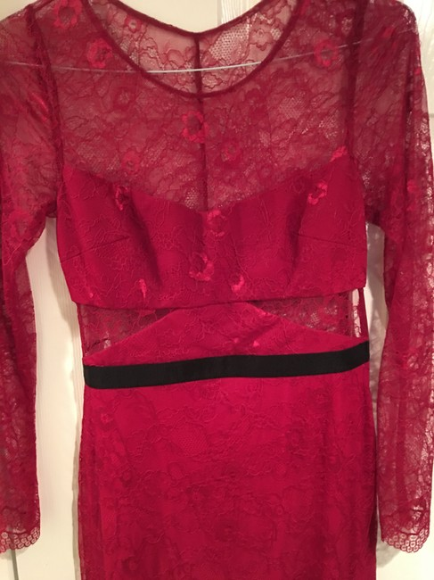 A.B.S. by Allen Schwartz Red Lace Lace Gown Red Gown Longsleeve Lace Dress Image 1