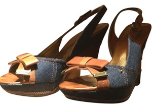 Guess denim and brown leather Wedges