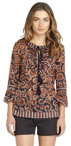 Tory Burch Keyhole Tassels Ruffle Cotton Print Top navy brown