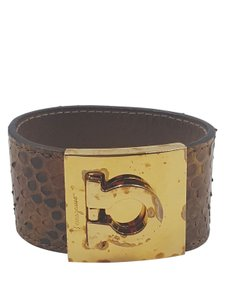 Salvatore Ferragamo Ferragamo Brown Snakeskin with Gold Tone Cuff Bracelet