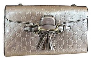 Gucci Patent Leather New Metallic Gold Hardware Shoulder Bag