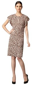 Tory Burch Keyhole Flutter Sleeves Ruched Waist Polyester Dress