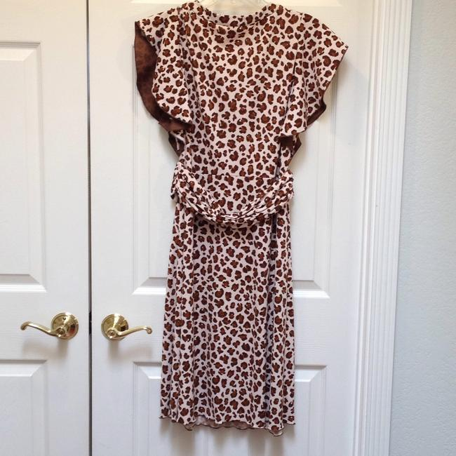 Tory Burch Keyhole Flutter Sleeves Ruched Waist Polyester Dress Image 3