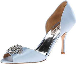 Badgley Mischka Salsa Light Blue Satin With Crystal Accent Size 7 1/2 Wedding Shoes