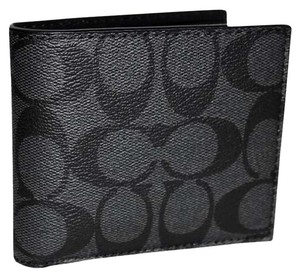 Coach F74993 Signature Compact ID Double Billfold Charcoal Black Wallet