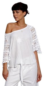 Lirome Embroidered Crochet Cottage Top White