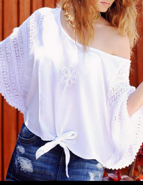 Lirome Embroidered Crochet Cottage Chic Red Top White Image 4