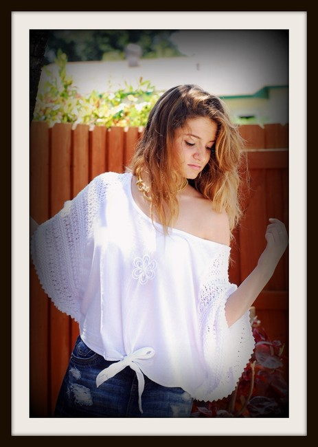 Lirome Embroidered Crochet Cottage Chic Red Top White Image 5
