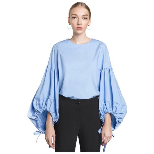 Preload https://img-static.tradesy.com/item/21320639/blue-puffy-balloon-tie-sleeve-blouse-size-2-xs-0-0-650-650.jpg