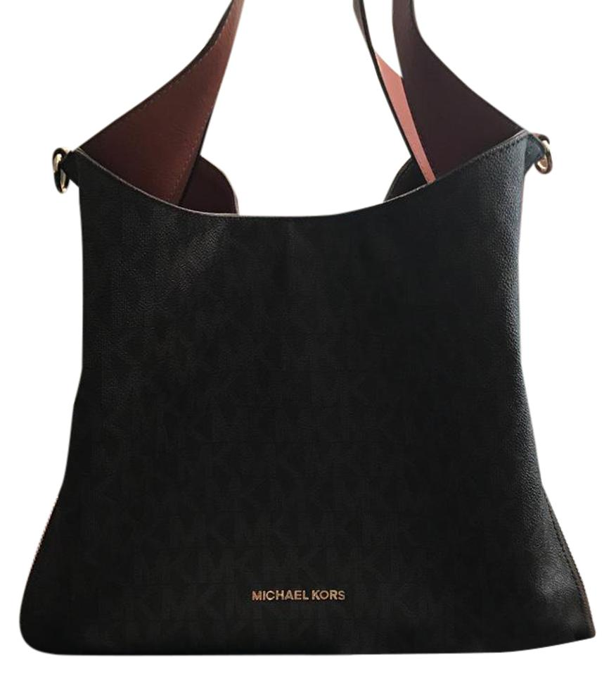 8cf8efd3fe72 Michael Kors Devon Signature Large Tote Brown Leather Hobo Bag 53% off  retail