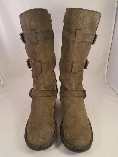 Brn Leather Suede Tripple Buckles khaki Boots Image 1