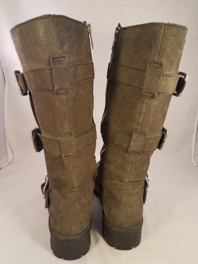 Brn Leather Suede Tripple Buckles khaki Boots Image 2