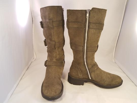 Brn Leather Suede Tripple Buckles khaki Boots Image 3