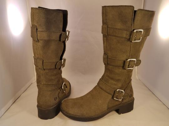 Brn Leather Suede Tripple Buckles khaki Boots Image 4