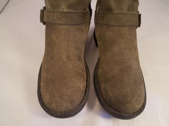 Brn Leather Suede Tripple Buckles khaki Boots Image 5