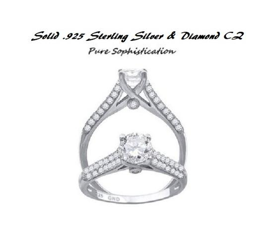 Solid .925 Sterling Silver Solitaire * 7 * Silver*last One Engagement Ring Image 1