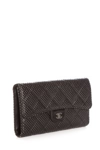 Chanel Chanel Black Quilted Perforated Leather Wallet