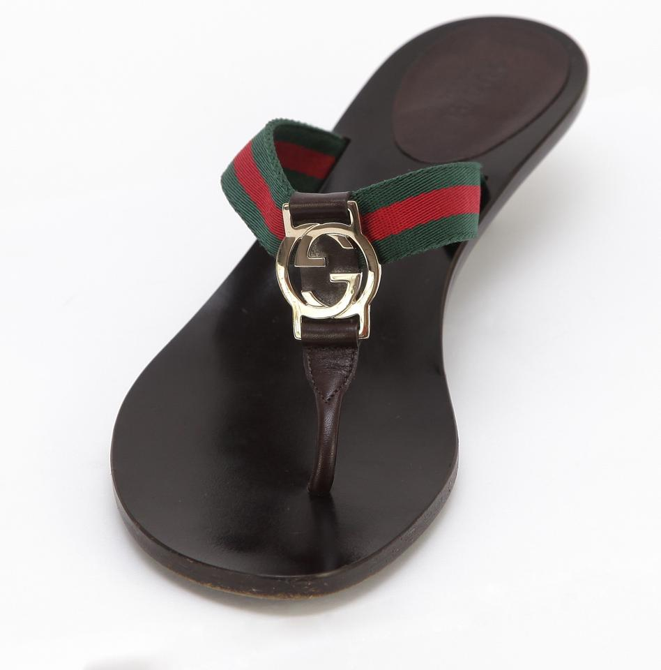 b008ed18257a Gucci Brown Green Red Leather Canvas Thong Gold Gg Slide 6.5b ...