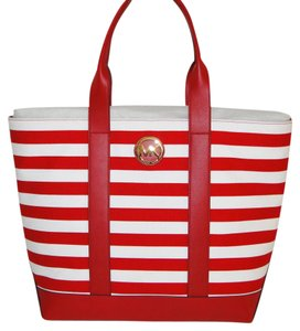 Michael Kors Fulton Striped Canvas & Tote in Red & White