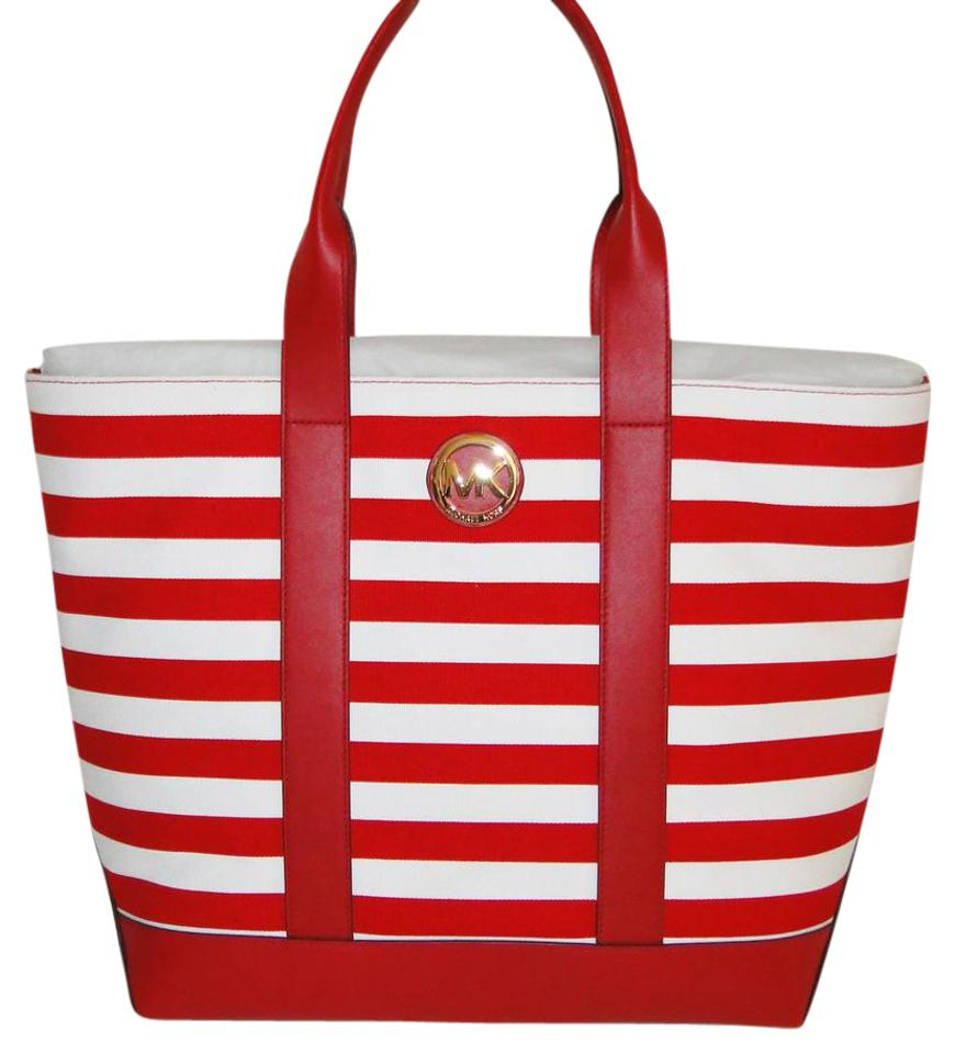 Michael Kors Fulton Striped Canvas Tote in Red   White Image 0 ... 41153ba65f016