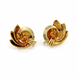 Tiffany & Co. Vintage 2.5ct Citrine 14k YGold Floral Screw Back Earrings