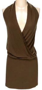 Vince short dress Brown Sleeveless Cross Front Halter on Tradesy