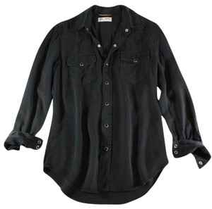 Saint Laurent Western Blouse Lyocell Shirt Button Down Shirt Black