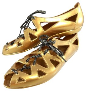Marc by Marc Jacobs Flat Lace Gold Sandals