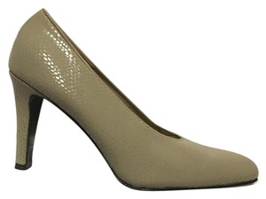 Bruno Magli Snakeskin Italy Bologna Fabric Taupe Pumps