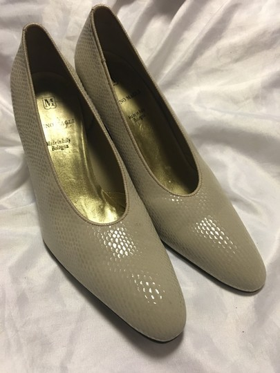 Bruno Magli Snakeskin Italy Bologna Fabric Taupe Pumps Image 1