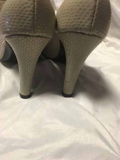 Bruno Magli Snakeskin Italy Bologna Fabric Taupe Pumps Image 2