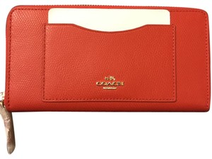 Coach New Coach red leather accordion zip wallet