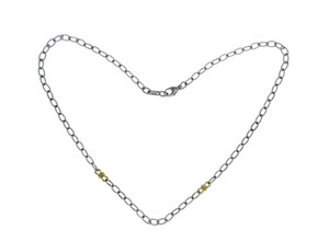 Judith Ripka JUDITH RIPKA 925 Sterling Silver 18K Gold Chain Link Necklace Size 17