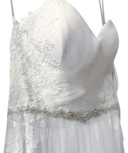 Maggie Sottero Diamond White Tulle Lace Patience By Vintage Wedding Dress Size 4 (S)